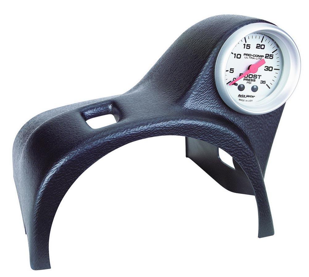 Auto Meter 10004 Gauge Pod, Gauge Works, One 2-1/16 in Diameter Gauge, Steering Column, Plastic, Black, Ford Mustang 1994-2004, Each