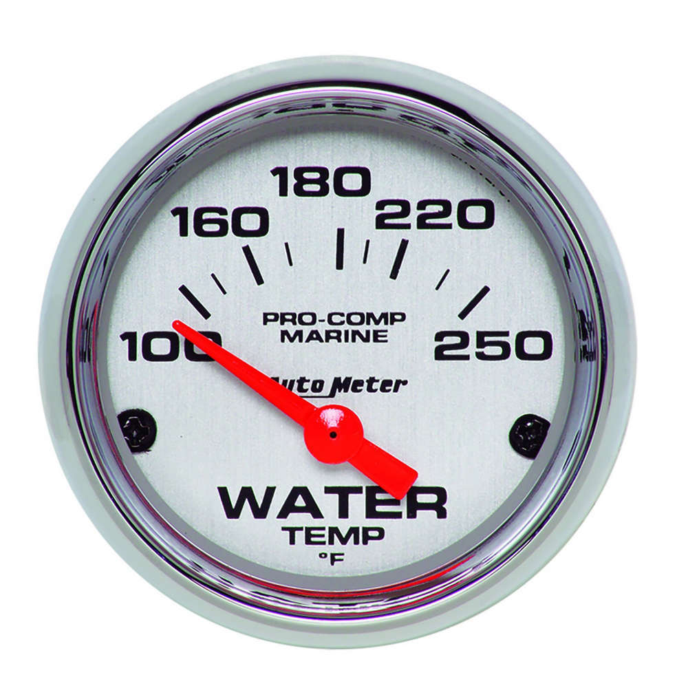Auto Meter 200762-35 Water Temperature Gauge, Air-Core Marine, 100-250 Degree F, Electric, Analog, Short Sweep, 2-1/16 in Diameter, Chrome Bezel, White Face, Each