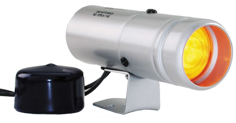 Auto Meter 5335 Shift Light, 1-5/8 in Diameter, Amber Lens, Silver Case, Autometer Gauges, Each