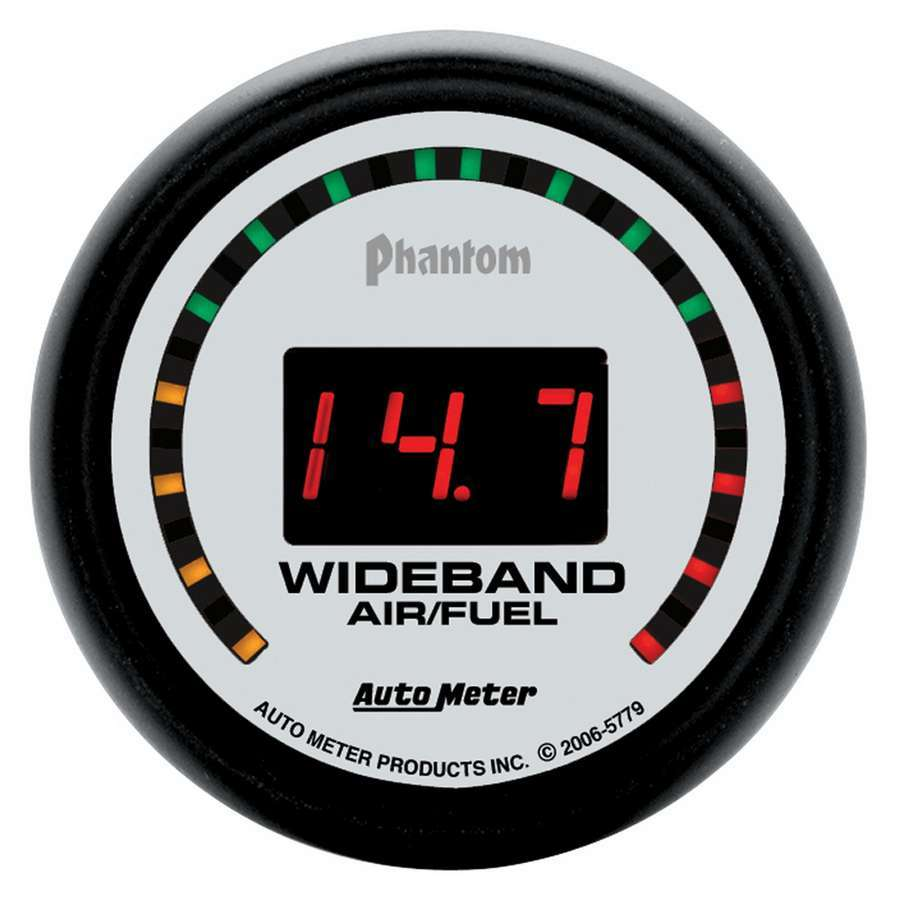Auto Meter 5779 Air-Fuel Ratio Gauge, Phantom, Wideband, 10:1-17:1 AFR, Electric, Digital, 2-1/16 in Diameter, White Face, Each