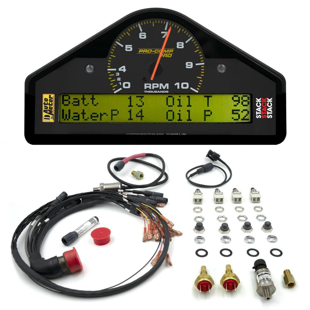 Auto Meter 6014 Gauge Kit, Pro-Comp, Race Dash, Digital / Analog, Fuel Pressure / Oil Pressure / Oil Temperature / Speedometer / Tachometer / Voltmeter / Water Temperature, Black Face, Kit