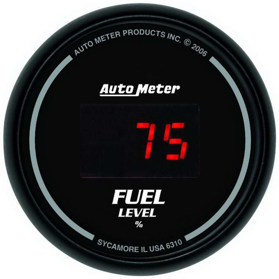 Auto Meter 6310 Fuel Level Gauge, Z-Series, 0-280 ohm, Electric, Digital, 2-1/16 in Diameter, Programmable, Black Face, Each