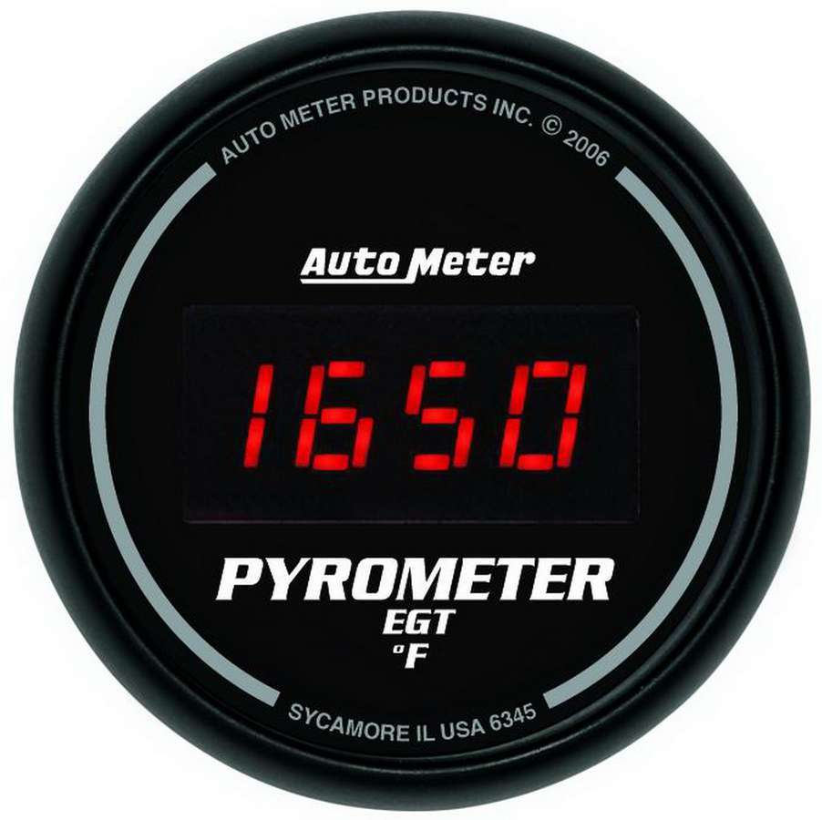 Auto Meter 6345 EGT Gauge, Z-Series, 0-2000 Degree F, Electric, Digital, 2-1/16 in Diameter, Black Face, Each