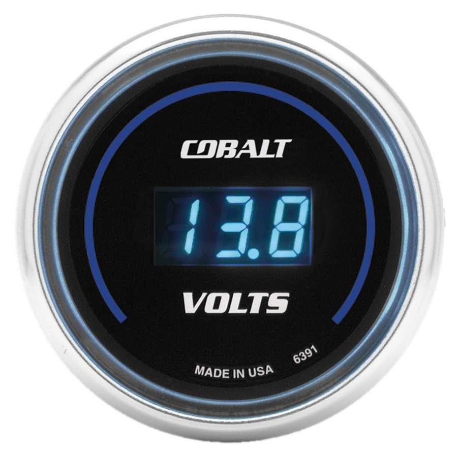 Auto Meter 6391 Voltmeter, Cobalt, 8-18V, Electric, Digital, 2-1/16 in Diameter, Black Face, Each