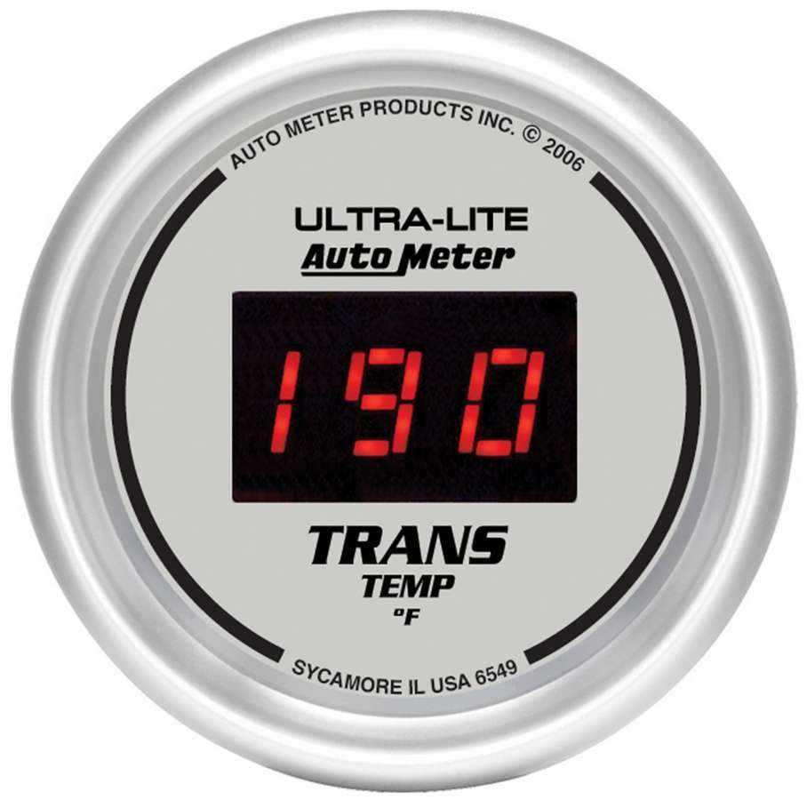 Auto Meter 6549 Transmission Temperature Gauge, Ultra-Lite, 0-300 Degree F, Electric, Digital, 2-1/16 in Diameter, Silver Face, Each
