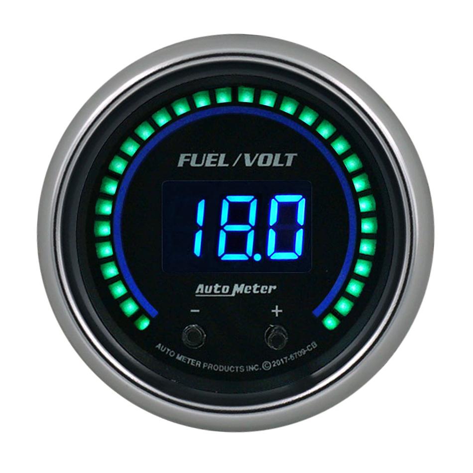 Auto Meter 6709-CB Combination Gauge, Cobalt Elite, Digital, Electric, Fuel Level / Voltmeter, 2-1/16 in Diameter, Black Face, Each