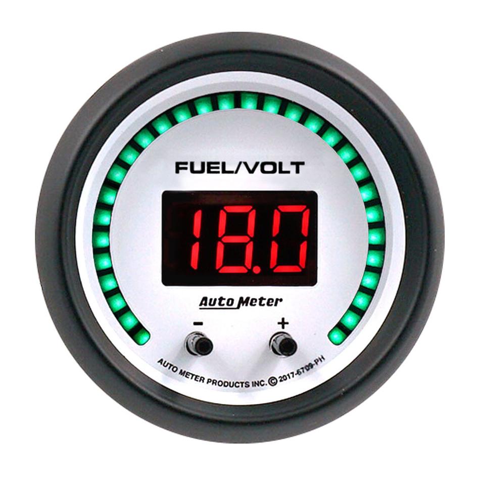 Auto Meter 6709-PH Combination Gauge, Phantom Elite, Digital, Electric, Fuel Level / Voltmeter, 2-1/16 in Diameter, White Face, Each