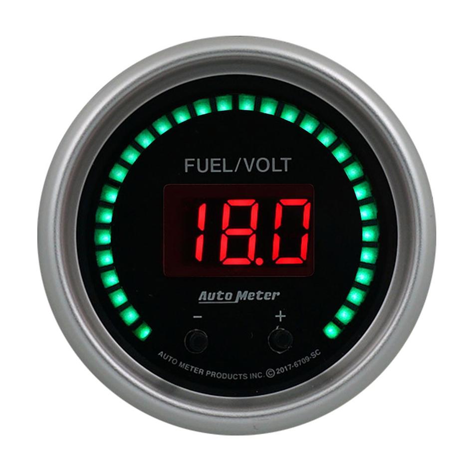 Auto Meter 6709-SC Combination Gauge, Sport-Comp Elite, Digital, Electric, Fuel Level / Voltmeter, 2-1/16 in Diameter, Black Face, Each