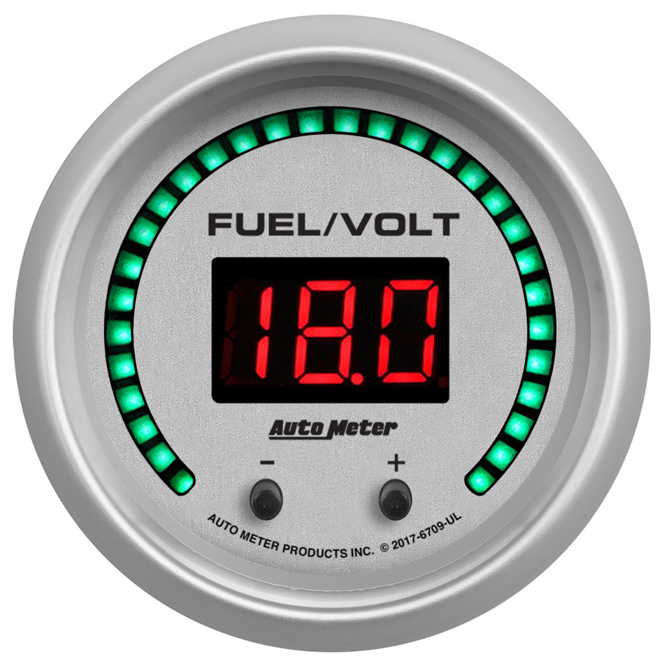 Auto Meter 6709-UL Combination Gauge, Ultra-Lite Elite, Digital, Electric, Fuel Level / Voltmeter, 2-1/16 in Diameter, White Face, Each