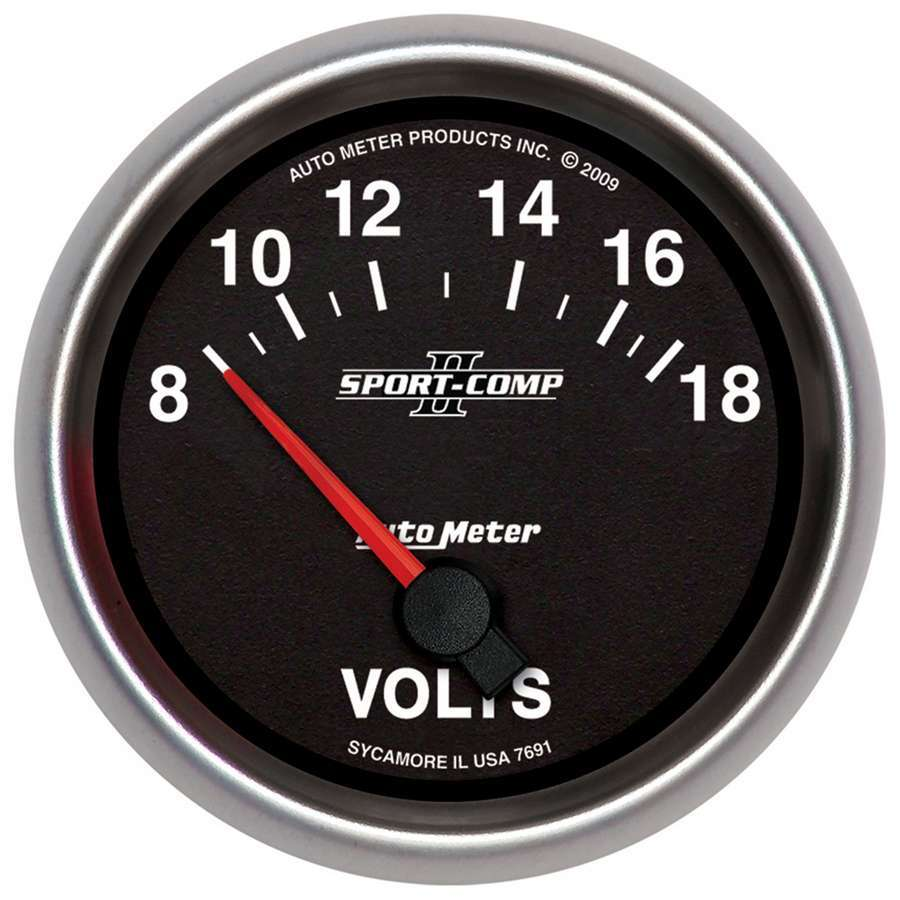 Auto Meter 7691 Voltmeter, Sport-Comp II, 8-18V, Electric, Analog, Short Sweep, 2-5/8 in Diameter, Black Face, Each