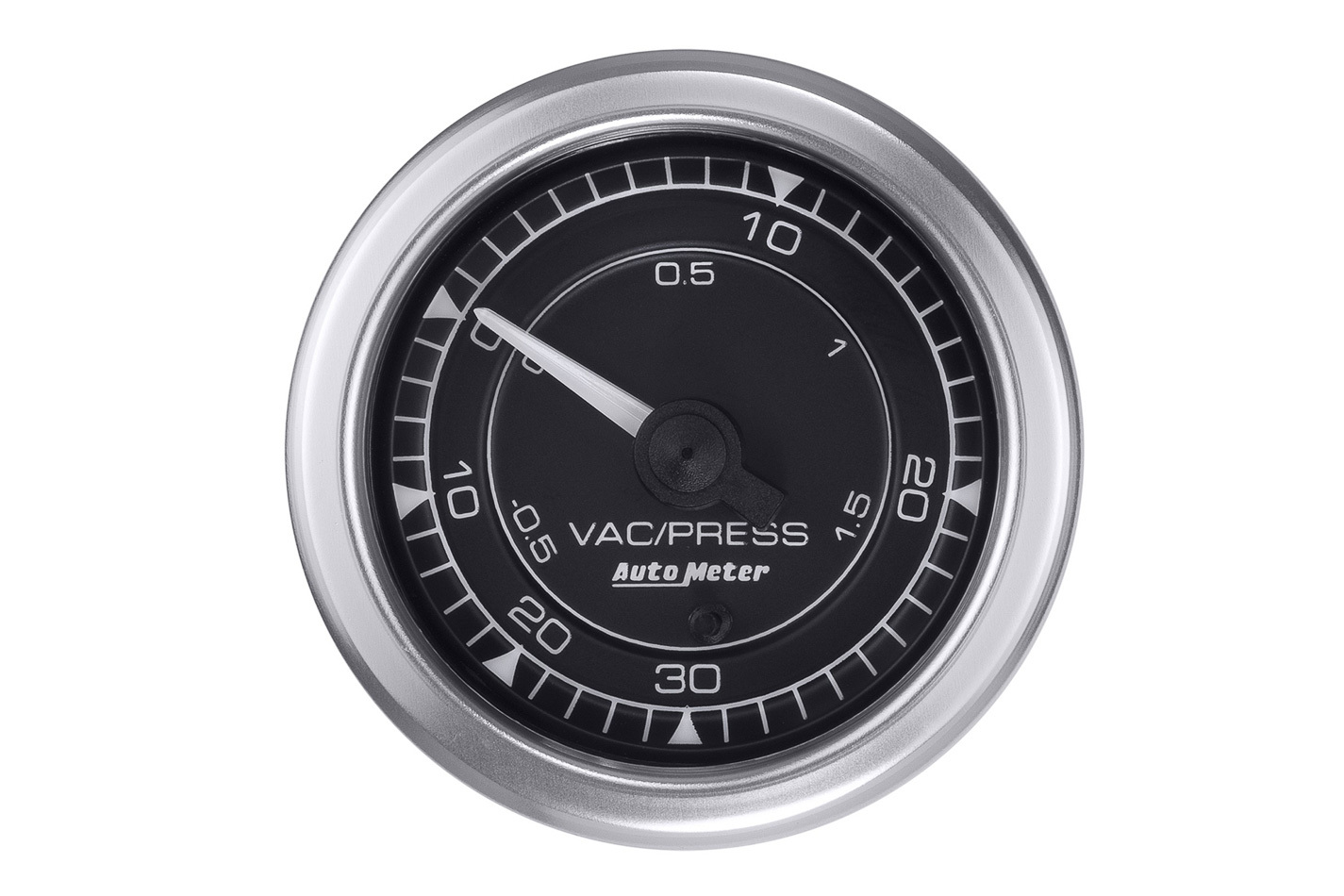 Auto Meter 8159 Boost/Vacuum Gauge, Chrono Series, 30 in HG-30 psi, Electric, Analog, Full Sweep, 2-1/16 in Diameter, Fittings/Harness/Hardware/MAP Sensor Included, Black Face, Each
