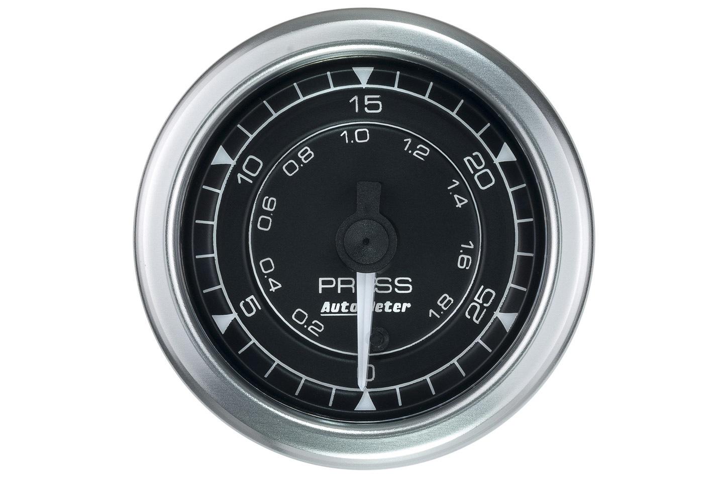 Auto Meter 8164 Pressure Gauge, Chrono Series, 0-30 psi, Electric, Analog, Full Sweep, 2-1/16 in Diameter, Fittings / Harness / Hardware / Sender Included, Black Face, Universal, Each