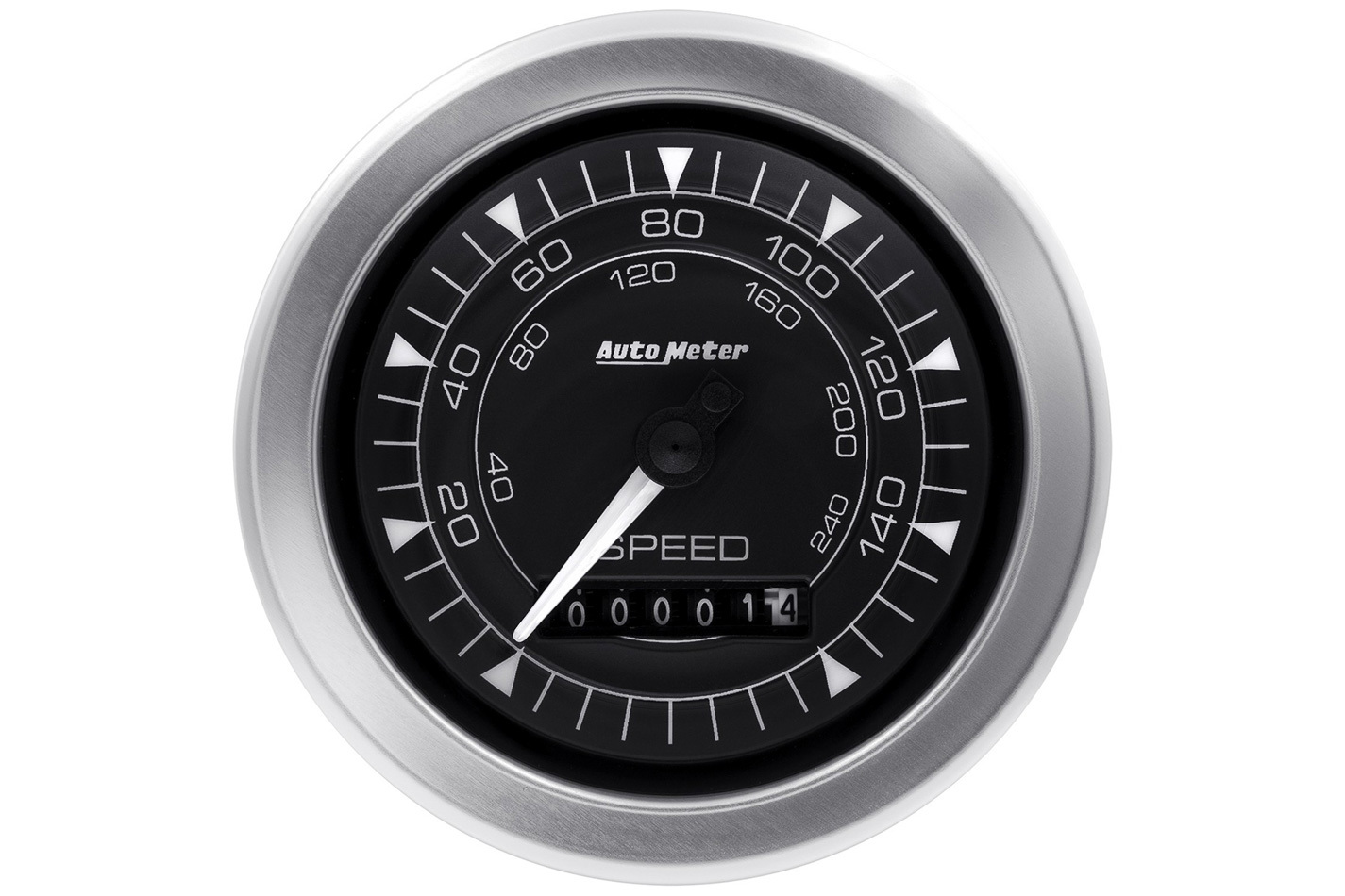 Auto Meter 8188 Speedometer, Chrono Series, 160 MPH, Electric, Analog, 3-3/8 in Diameter, Programmable, Black Face, Each