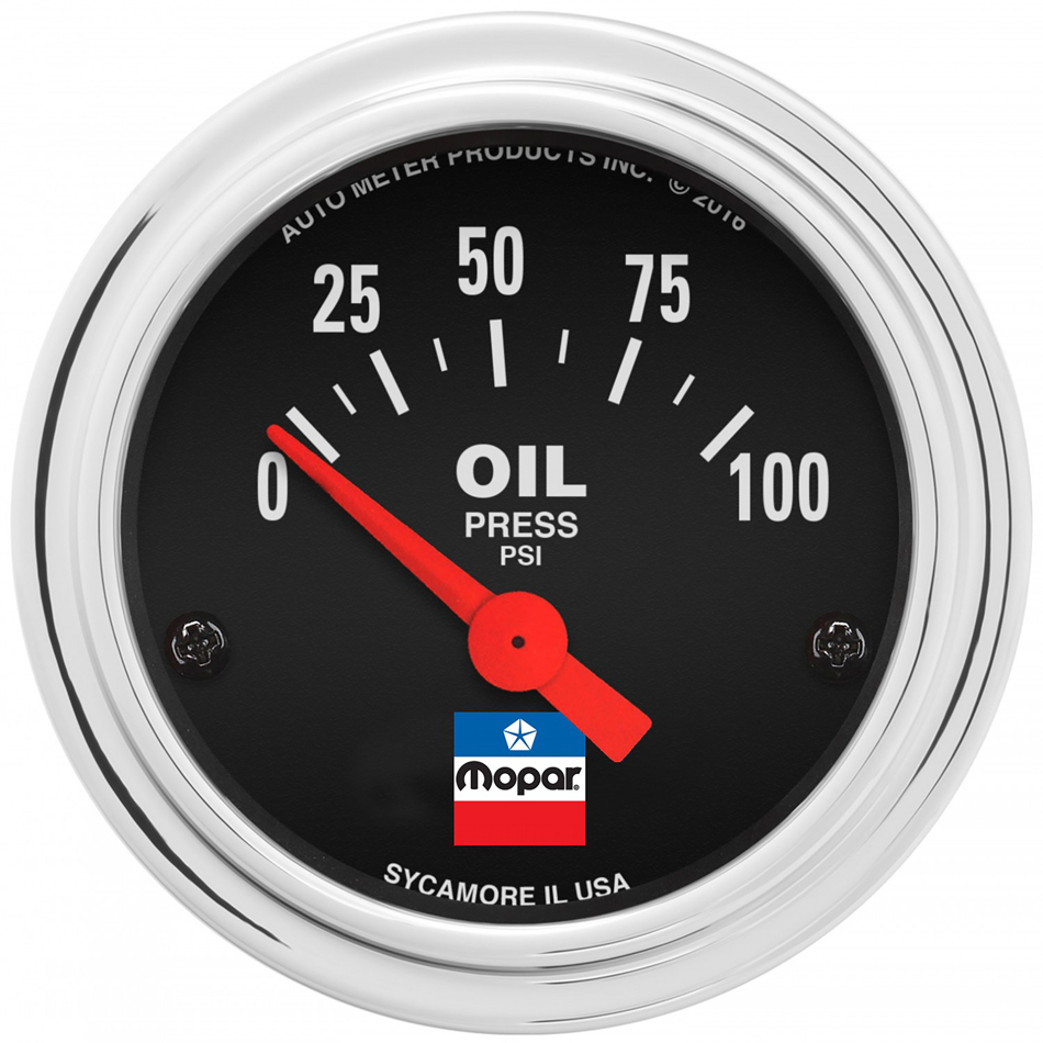 Auto Meter 880786 Oil Pressure Gauge, Mopar Classic, 0-100 psi, Electric, Analog, Short Sweep, 2-1/16 in Diameter, Black Face, Each