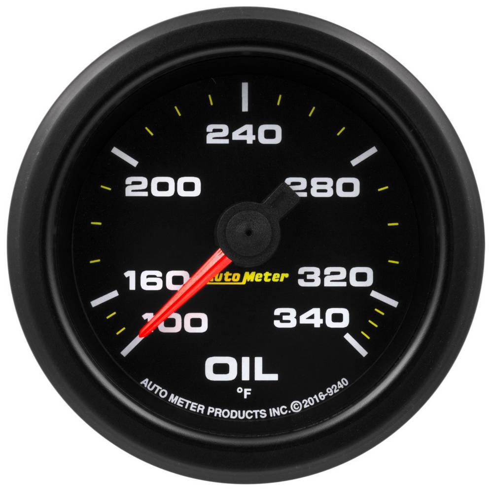Auto Meter 9240 Oil Temperature Gauge, Stepper Motor, 100-340 Degree F, Electric, Analog, Full Sweep, 2-1/16 in Diameter, Black Face, Each