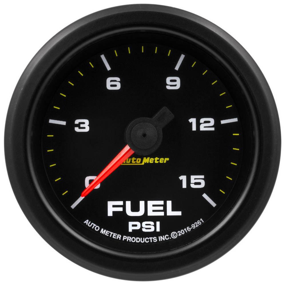 Auto Meter 9261 Fuel Pressure Gauge, Stepper Motor, 0-15 psi, Electric, Analog, Full Sweep, 2-1/16 in Diameter, Black Face, Each