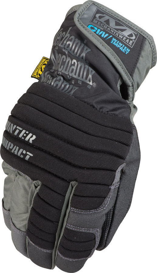 Mechanix Wear MCW-WA-008 Gloves, Shop, Winter Impact, Reinforced Fingertips, Padded Palm, Hook and Loop Closure, Insulated, Black / Gray, Small, Pair