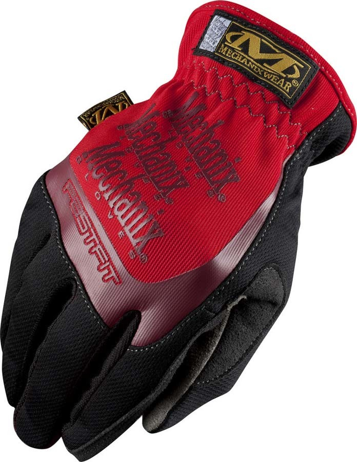 Mechanix Wear MFF-02-009 Gloves, Shop, FastFit, Elastic Cuff, Synthetic Leather, Black / Red, Medium, Pair