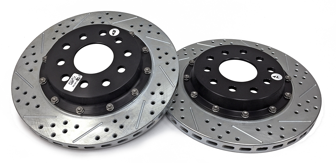Baer Brakes 2302021 Brake Rotor, EradiSpeed + 2, Rear, Directional / Drilled / Slotted, 14.000 in OD, 2 Piece, Iron, Natural, GM Y-Body 1997-2013, Kit