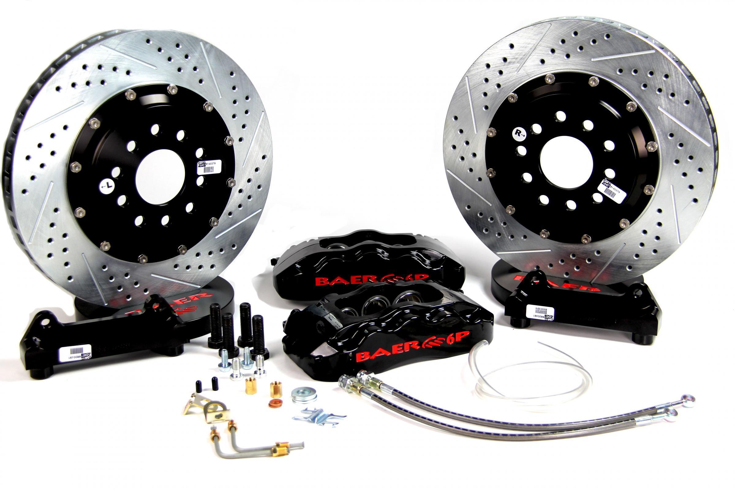 Baer Brakes 4301352B Brake System, Pro Plus, Front, 6 Piston Caliper, 14 in Drilled / Slotted, 2 Piece Rotor, Aluminum, Black, GM F-Body 1967-81, Kit