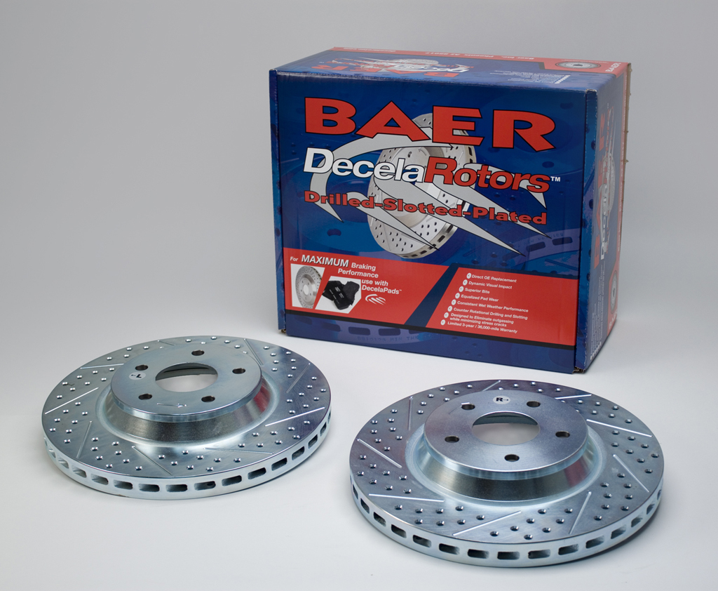 Baer Brakes 55009-020 Brake Rotor, Sport, Directional / Drilled / Slotted, 330 mm OD, 5 x 120 mm Wheel Bolt Pattern, Iron, Natural, Pair