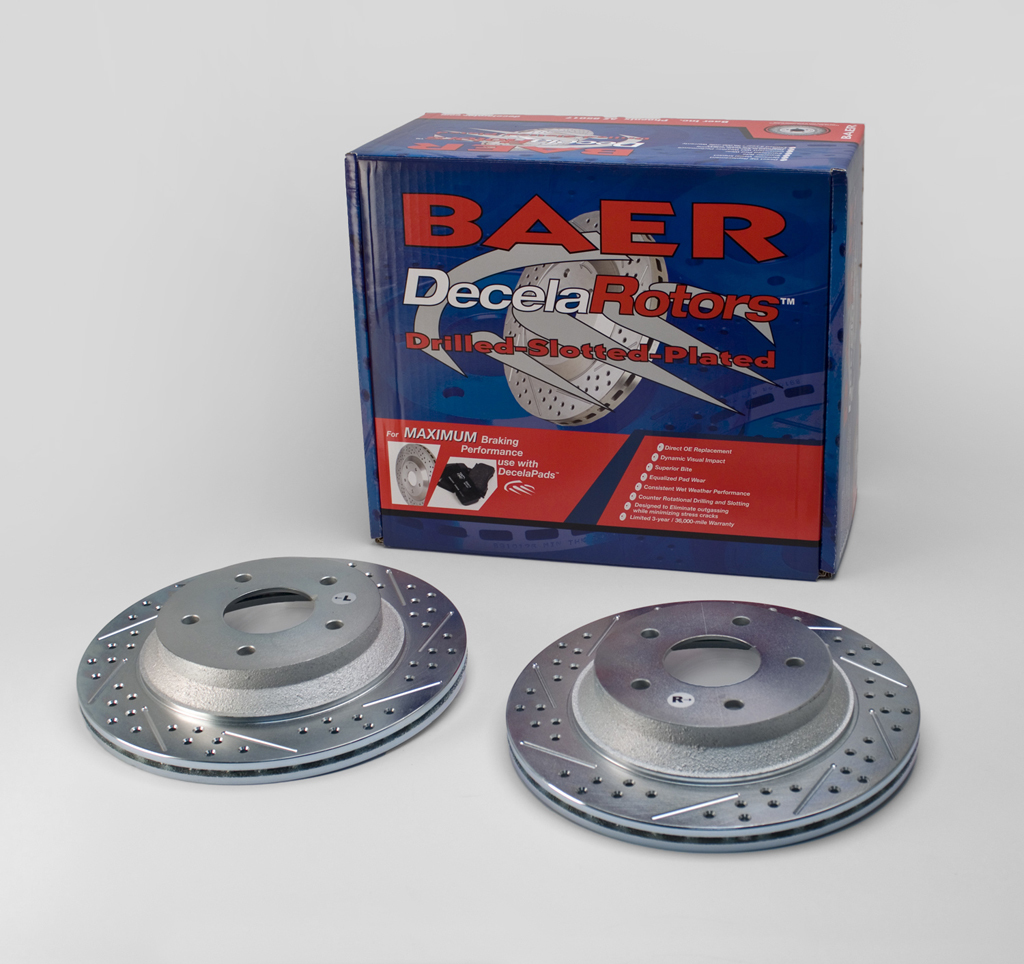 Baer Brakes 55012-020 Brake Rotor, Sport, Directional / Drilled / Slotted, 302 mm OD, 5 x 120 mm Wheel Bolt Pattern, Iron, Natural, Pair