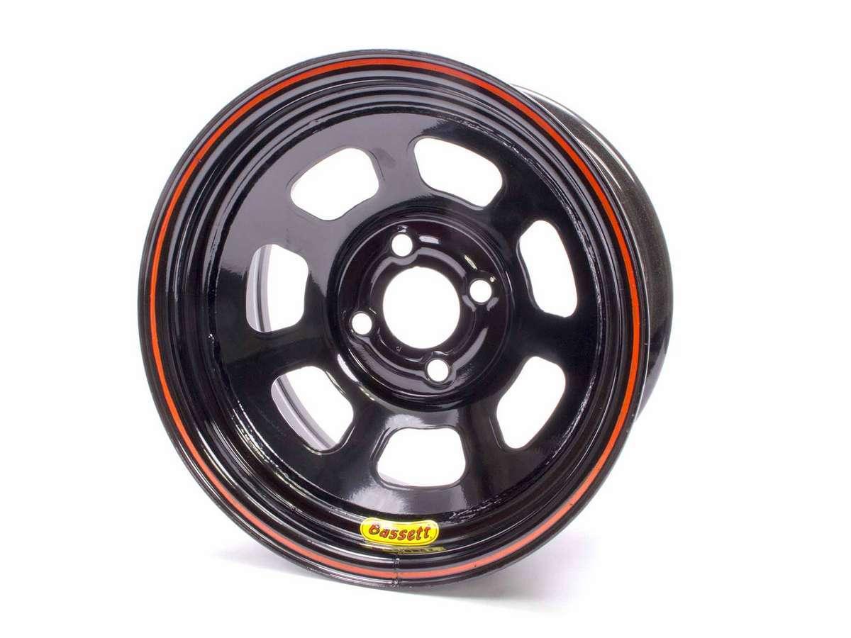 Bassett 47SP3 Wheel, 8 Spoke D-Hole Lightweight, 14 x 7 in, 3.000 in Backspace, 4 x 4.25 in Bolt Pattern, Steel, Black Powder Coat, Each
