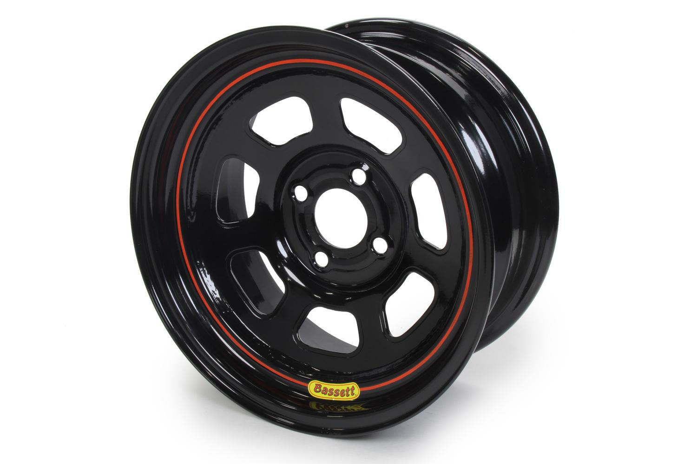 Bassett 57SP4 Wheel, D-Hole Lightweight, 15 x 7 in, 4.000 in Backspace, 4 x 4.25 in Bolt Pattern, Steel, Black Powder Coat, Each