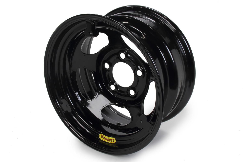 Bassett 58R52EBTAB Wheel, Armor Edge, 15 x 8 in, 2.00 in Backspace, 5 x 5.00 in Bolt Pattern, Mud Cover Tabs, Steel, Black Powder Coat, Each