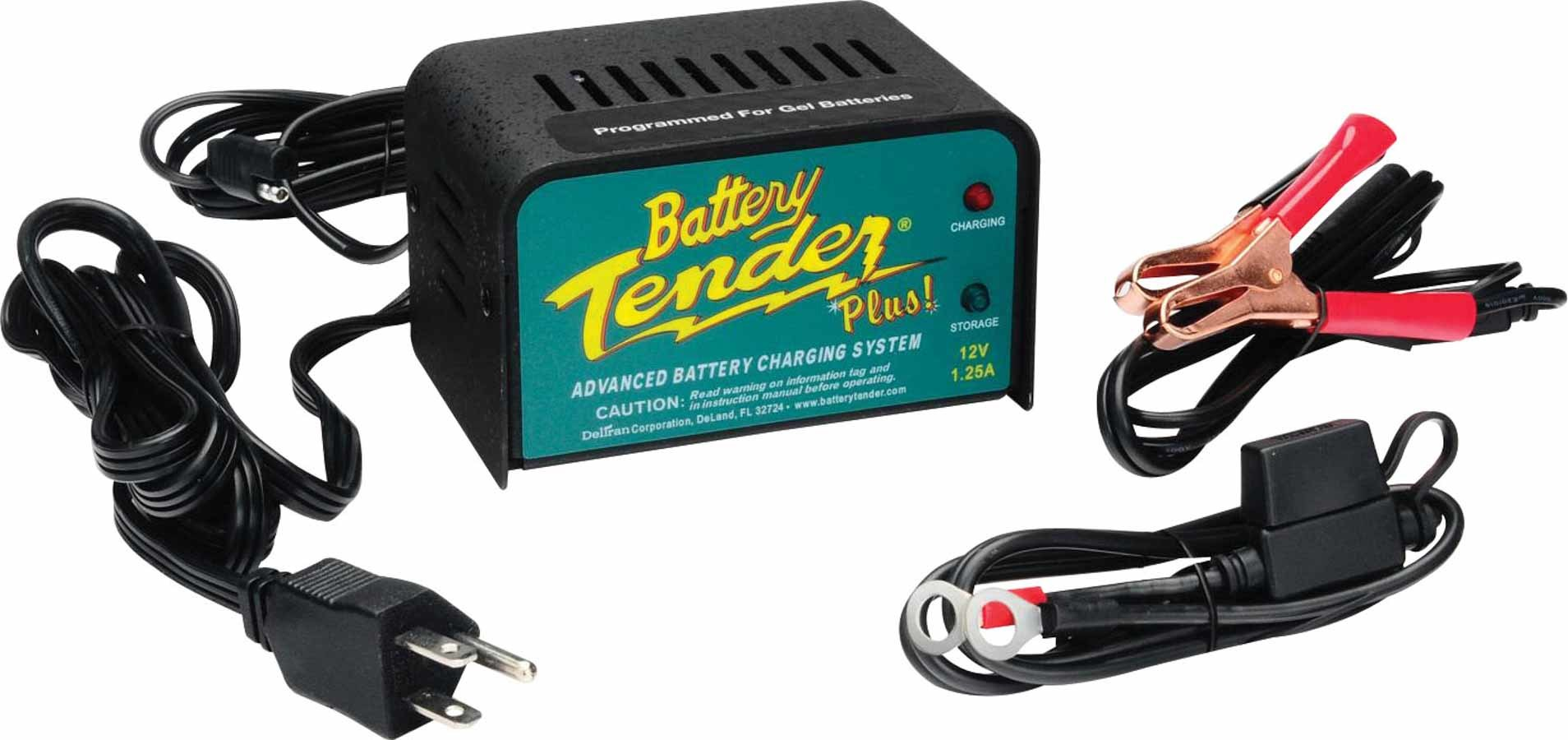 Battery Tender 021-0128 Battery Charger, Battery Tender Plus, 12V, 1.25 amp, 4 Step Charging Program, Quick Connect Harness, Each