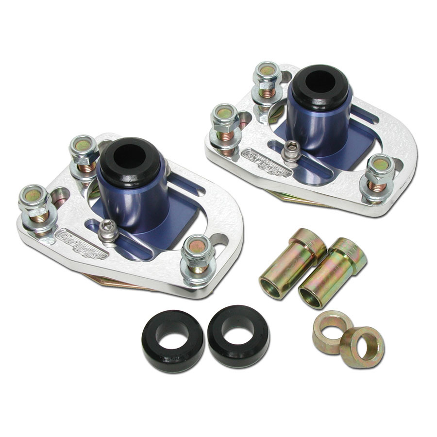 BBK Performance 2525 Caster / Camber Plates, Strut, Independent Caster / Camber Adjustment, Aluminum, Clear Anodize, Ford Mustang 1979-93, Kit
