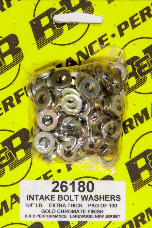 B&B Performance 26180 Flat Washer, 1/4 in ID, 0.540 in OD, 0.100 in Thick, Steel, Chromate, Cadmium, Universal, Set of 100