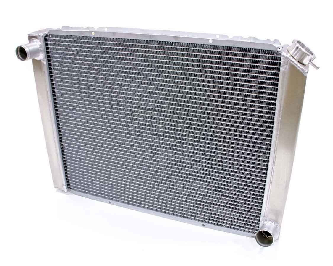 BE-COOL Radiators 35002 Radiator, Universal-Fit, 26-1/2 in W x 19 in H x 3 in D, Driver Side Inlet, Passenger Side Outlet, Aluminum, Natural, Each