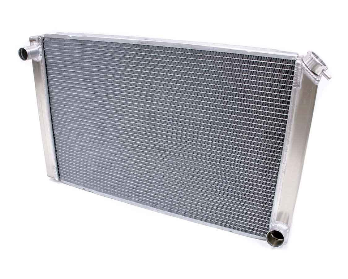 BE-COOL Radiators 35004 Radiator, Universal-Fit, 31 in W x 19 in H x 3 in D, Driver Side Inlet, Passenger Side Outlet, Aluminum, Natural, Each