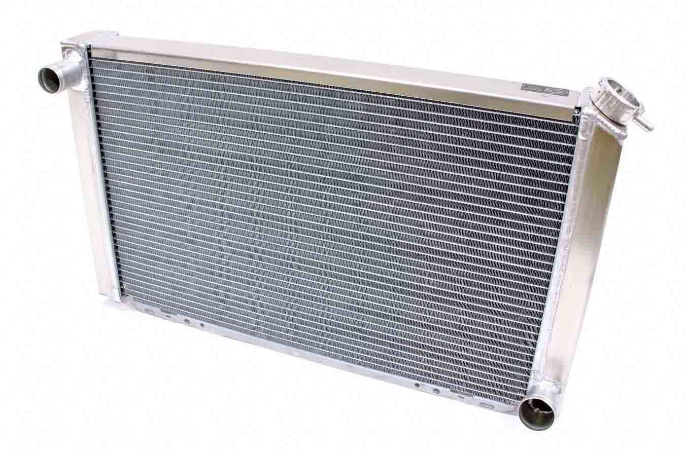 BE-COOL Radiators 35005 Radiator, Universal-Fit, 28 in W x 17 in H x 3 in D, Driver Side Inlet, Passenger Side Outlet, Aluminum, Natural, Each