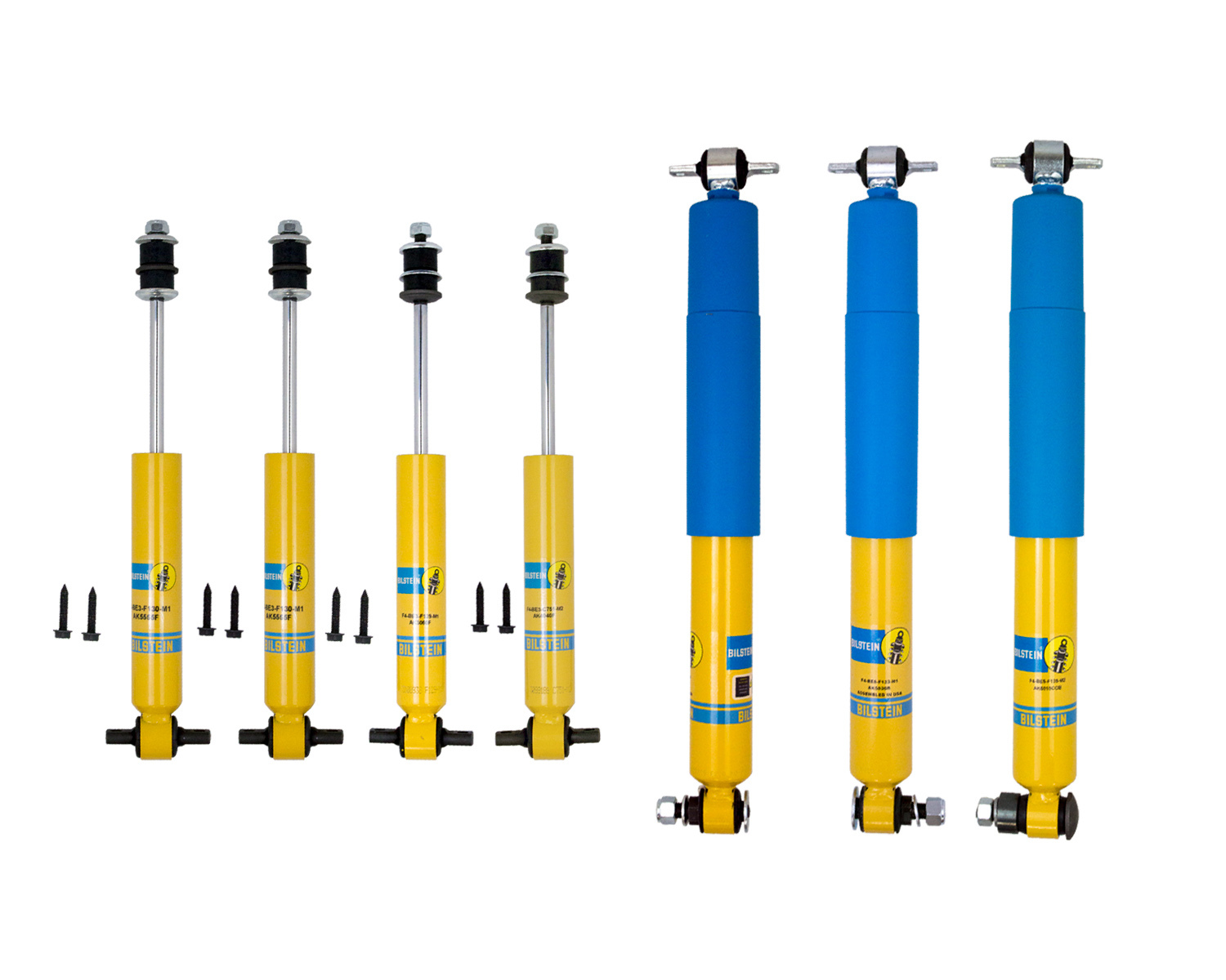 Bilstein F4-SE7-F565-M0 Shock, AK Series, Monotube, Steel, Yellow Paint, GM Metric, Dirt Stock Car, Set of 7