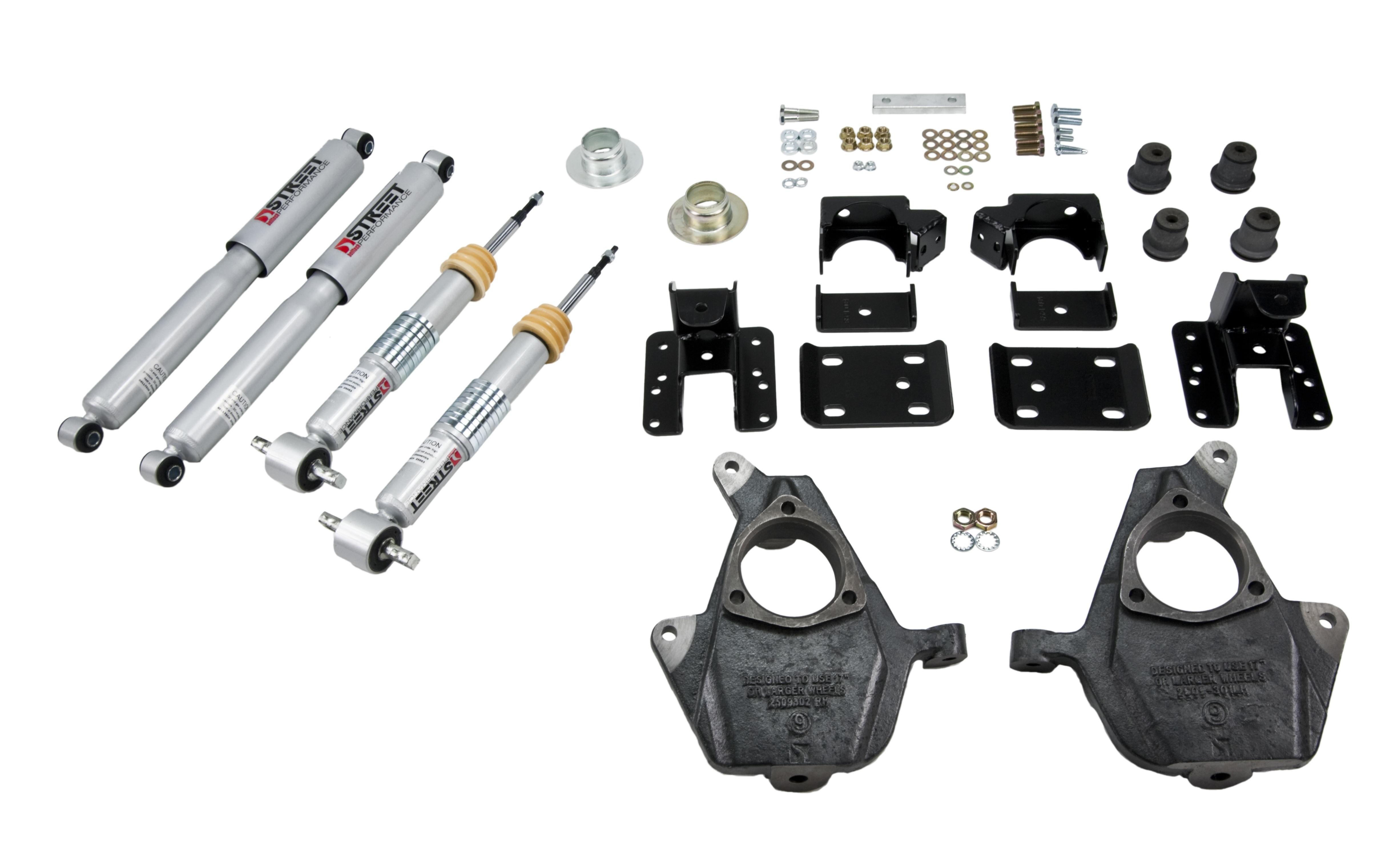 Bell Tech 1001SP Lowering Kit, 1-3 in Front / 4 in Rear, Flip Kit / Shocks / Struts, Short Bed, Ford Fullsize Truck 2015-16, Kit