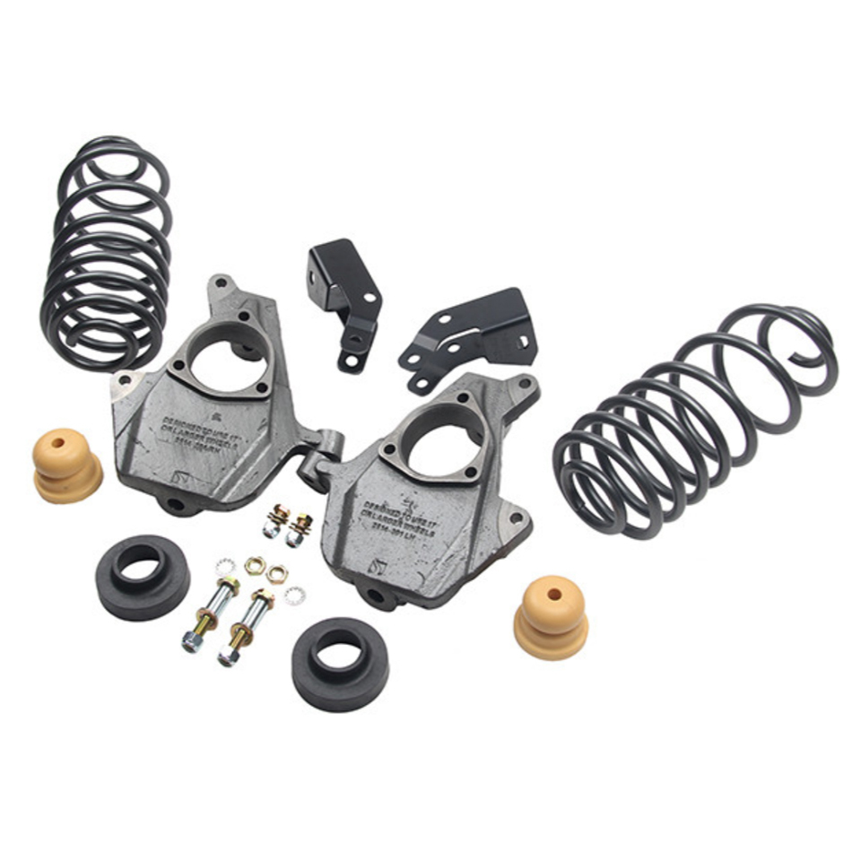 Bell Tech 1019 Lowering Kit, 3 in Front / 4 in Rear, Coil Springs / Hardware / Spindles, GM Fullsize SUV / Truck 2014-18, Kit