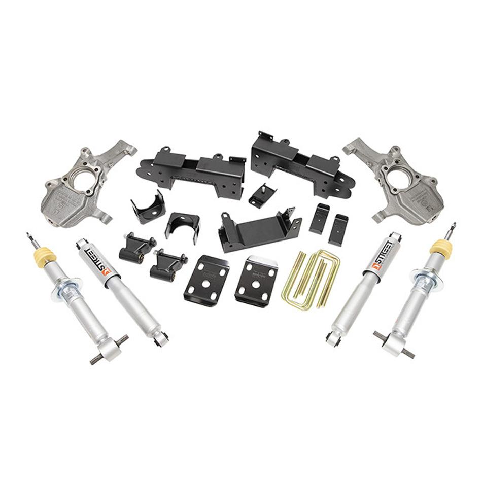 Bell Tech 1040SP Lowering Kit, 4 in Front / 6 in Rear, Hardware / Shocks / Spindles / Struts, 2WD, GM Fullsize Truck 2019-20, Kit