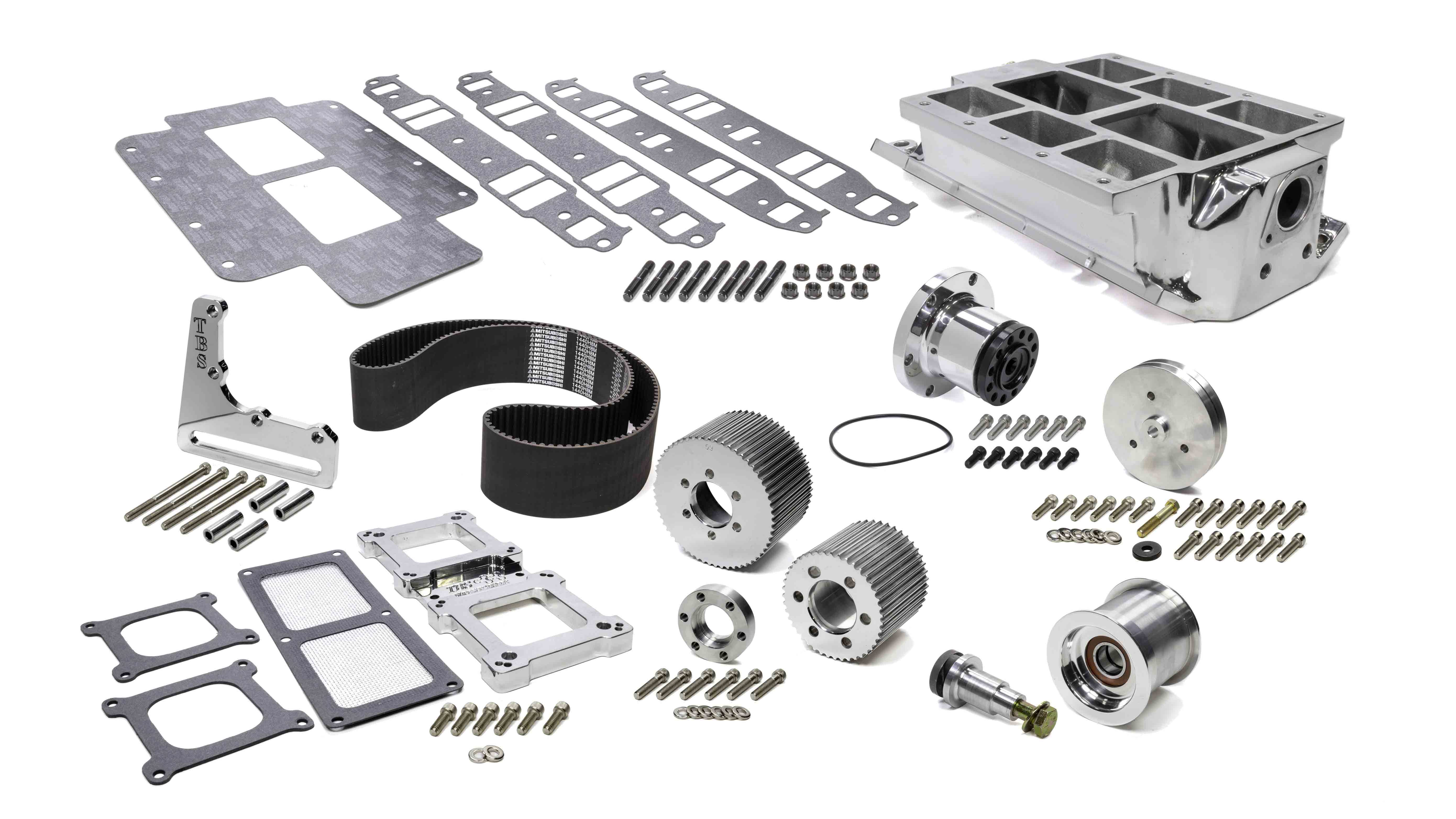 The Blower Shop 2611 Supercharger Drive Kit, Belt / Crankshaft Hardware / Hub / Intake / Pulleys / Spacers, Polished, 6-71 Superchargers, Small Block Chevy, Kit