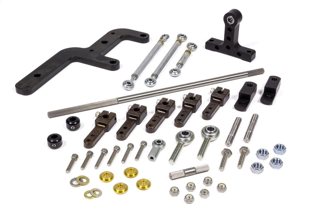 The Blower Shop 4355 Throttle Linkage, Side Mount, Dual Quad, Aluminum / Steel, Black Anodize / Zinc Oxide, 4150 / 4500 Carburetors, 250 Superchargers, Kit