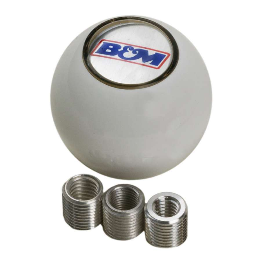 B & M Automotive 46110 Shifter Knob, 1/2-20, 3/8-24, 3/8-16 and 5/16-18 in Thread, B&M Logo, Plastic, White, Universal, Kit