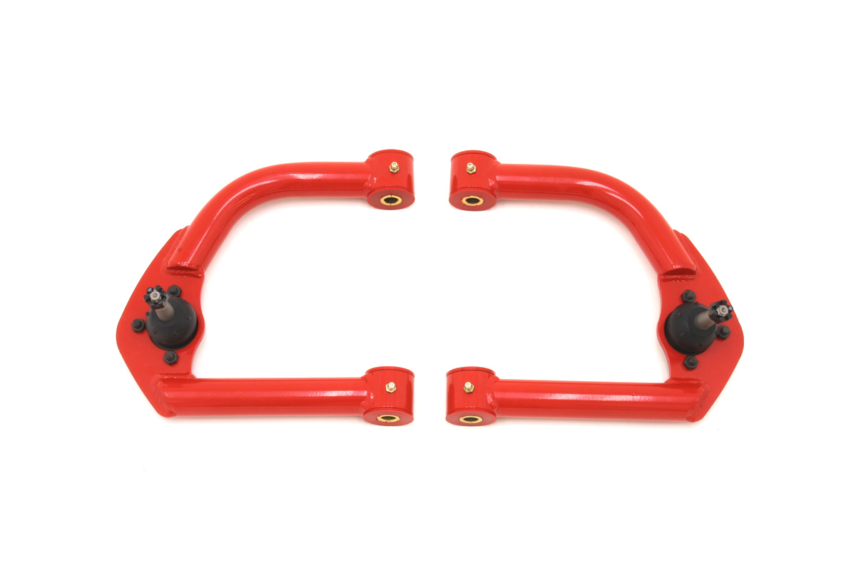 BMR Suspension AA001R Control Arm, Tubular, Upper, Screw-In Ball Joints, Bushings, Steel, Red Powder Coat, GM F-Body 1993-2002, Pair