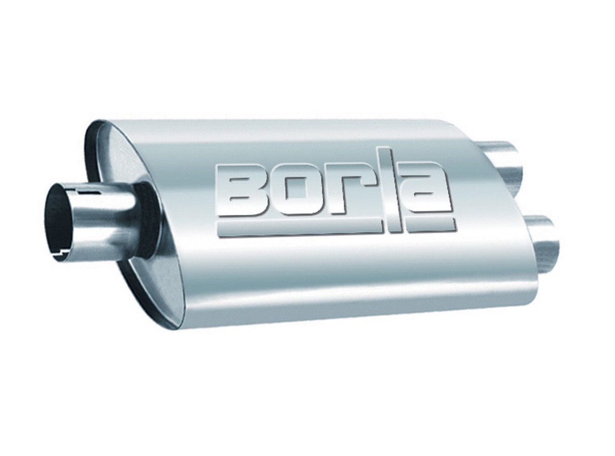 Borla 40349 Muffler, ProXS, 3 in Center Inlet, Dual 2-1/2 in Outlets, 19 x 5 x 9-1/2 in Oval Body, 23 in Long, Stainless, Natural, Universal, Each