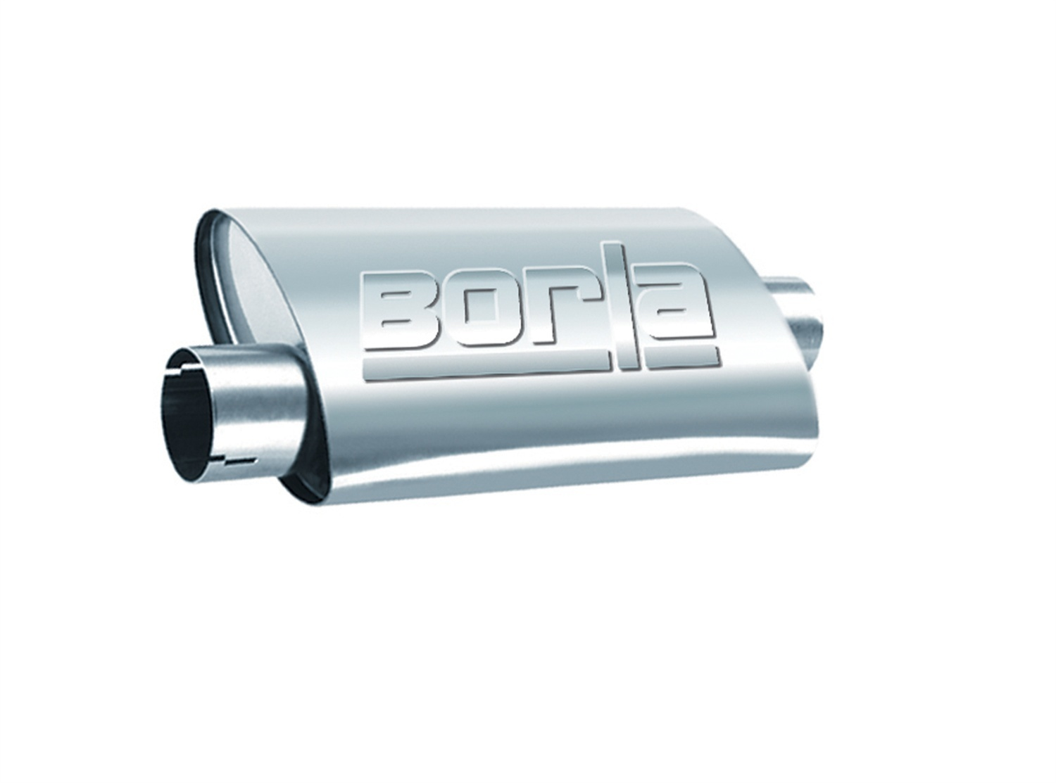 Borla 40659 Muffler, ProXS, 2-1/2 in Offset Inlet, 2-1/2 in Center Outlet, 14 x 4-1/4 x 7-7/8 in Oval Body, 18 in Long, Stainless, Natural, Universal, Each