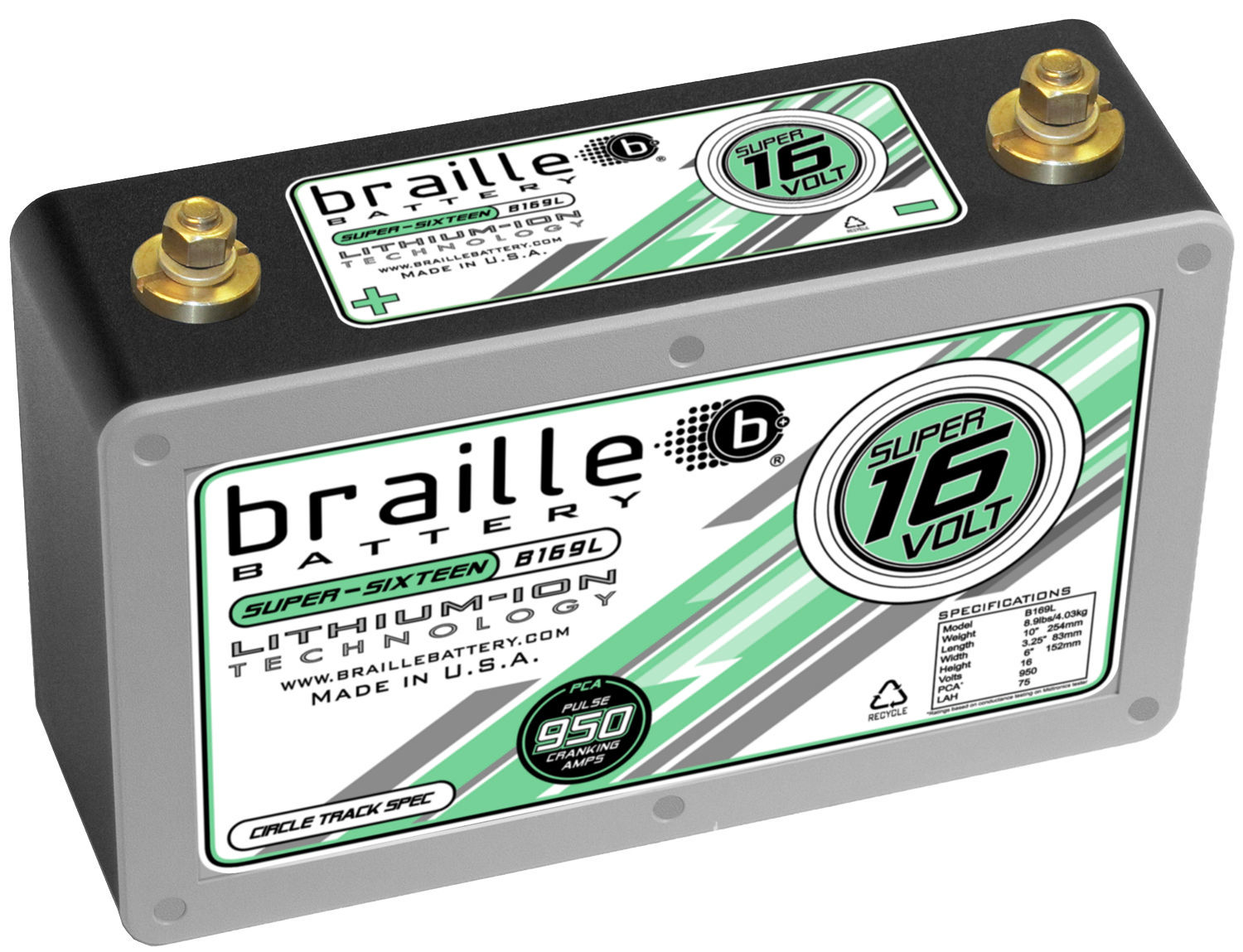 Braille Auto Battery B169L Battery, Super-Sixteen, Lithium-ion, 16V, 950 Pulse Cranking Amp, Threaded Terminals, 10.00 in L x 6.15 in H x 3.25 in W, Each