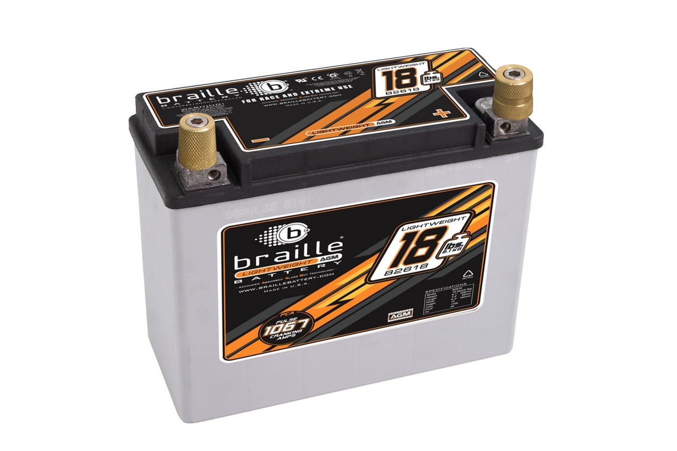 Braille Auto Battery B2618 Battery, Lightweight, AGM, 12V, 1168 Pulse Cranking Amp, Threaded Terminals, 8.10 in L x 6.30 in H x 3.50 in W, Each