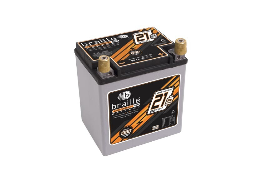Braille Auto Battery B3121 Battery, Lightweight, AGM, 12V, 1380 Pulse Cranking Amp, Threaded Terminals, 6.60 in L x 6.80 in H x 5.20 in W, Each