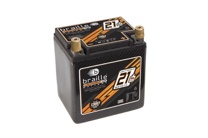 Braille Auto Battery B3121C Battery, Carbon, AGM, 12V, 1380 Pulse Cranking Amp, Threaded Terminals, 6.60 in L x 6.90 in H x 5.20 in W, Each