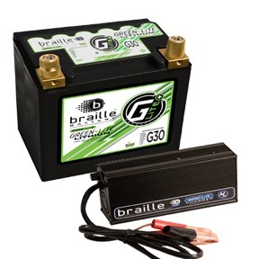 Braille Auto Battery G30C Battery and Charger, Green-Lite, Lithium-ion, 12V, 947 Pulse Cranking Amp, Threaded Terminals, 6.80 in L x 6.90 in H x 5.20 in W, Each
